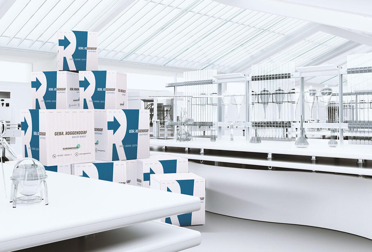 Umzugskartons in einem Labor während Laborumzugs